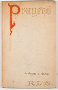 Books:First Editions, Robert Louis Stevenson. Prayers Written at Vailima. NewYork: Charles Scribner's Sons, 1904. First American edition....
