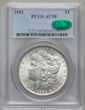Morgan Dollars: , 1901 $1 AU58 PCGS. CAC. PCGS Population (734/564). NGC Census:(1146/612). Mintage: 6,962,813. Numismedia Wsl. Price for pr...
