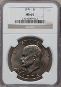 Eisenhower Dollars: , 1974 $1 MS66 NGC. NGC Census: (56/1). PCGS Population (97/0). Mintage: 27,366,000. Numismedia Wsl. Price for problem free N...