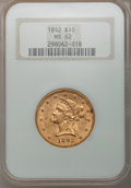 Liberty Eagles: , 1892 $10 MS62 NGC. NGC Census: (2716/637). PCGS Population(1235/241). Mintage: 797,400. Numismedia Wsl. Price for problem ...