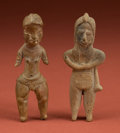 American Indian Art:Pottery, Colima and Tlatilco Standing Figures... (Total: 2 Items)