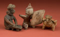 American Indian Art:Pottery, Two Nayarit and One Chinesco Figures... (Total: 3 Items)