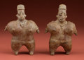 American Indian Art:Pottery, Pair of Jalisco Fertility Rattle Effigies... (Total: 2 Items)