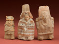 American Indian Art:Pottery, Three Mold-Made Maya Votive Figures... (Total: 3 Items)