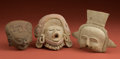 American Indian Art:Pottery, Collection of Three Large Veracruz Heads... (Total: 3 Items)