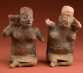 American Indian Art:Pottery, Two Jalisco Red Painted Women... (Total: 2 Items)