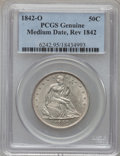 Seated Half Dollars, 1842-O 50C Medium Date, Reverse Of 1842 PCGS Genuine. The PCGSnumber ending in .95 suggests scratch as the reason, or perh...