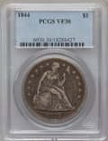 Seated Dollars: , 1844 $1 VF30 PCGS. PCGS Population (9/180). NGC Census: (1/121).Mintage: 20,000. Numismedia Wsl. Price for problem free NG...