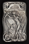 Silver Smalls:Match Safes, AN UNGER BROTHERS SILVER BAT WOMAN MATCH SAFE . Unger Bros.,Newark, New Jersey, circa 1905. Marks: (UB intertwined),STER...