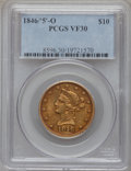 Liberty Eagles, 1846-O $10 VF30 PCGS. Variety 3....