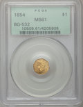California Fractional Gold, 1854 $1 Liberty Octagonal 1 Dollar, BG-532, Low R.4, MS61 PCGS....