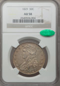 Bust Half Dollars, 1829 50C Small Letters AU58 NGC. CAC. O-115, R.1....