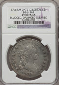 Early Dollars, 1796 $1 Small Date, Large Letters -- Plugged, Damaged, Cleaned --NGC Details. VF. B-4, BB-61, R.3....
