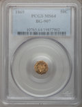 California Fractional Gold: , 1869 50C Liberty Octagonal 50 Cents, BG-907, Low R5, MS64 PCGS.PCGS Population (10/19). NGC Census: (3/3). (#10765)...