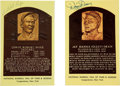 Baseball Collectibles:Others, Dizzy Dean and Satchel Paige Signed Hall of Fame Postcards Lot of 2....