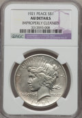 Peace Dollars: , 1921 $1 --Improperly Cleaned--NGC Details. AU. NGC Census:(130/9977). PCGS Population (264/11879). Mintage: 1,006,473.Numi...