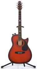 Musical Instruments:Acoustic Guitars, 1980s Hohner HAG-22 Orange Acoustic Electric Guitar #8702476...