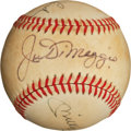 Autographs:Baseballs, New York Yankee Legends Multi Signed Baseball (DiMaggio, AndMantle, Etc.)...