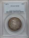 Seated Half Dollars: , 1871 50C XF45 PCGS. PCGS Population (17/100). NGC Census: (8/100).Mintage: 1,204,560. Numismedia Wsl. Price for problem fr...