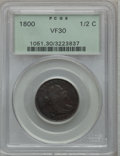 Half Cents, 1800 1/2 C VF30 PCGS. PCGS Population (21/140). NGC Census:(5/111). Mintage: 202,908. Numismedia Wsl. Price for problem fr...