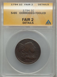1794 1C Head of 1795--Corroded, Tooled--ANACS. Fair2 Details. S-65. NGC Census: (11/375). PCGS Population (9/464). Minta...