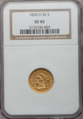 Liberty Quarter Eagles: , 1850-O $2 1/2 XF45 NGC. NGC Census: (42/226). PCGS Population(23/75). Mintage: 84,000. Numismedia Wsl. Price for problem f...