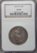Seated Half Dollars: , 1876-CC 50C XF40 NGC. NGC Census: (4/114). PCGS Population(16/179). Mintage: 1,956,000. Numismedia Wsl. Price for problem ...