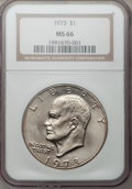 Eisenhower Dollars: , 1973 $1 MS66 NGC. NGC Census: (22/0). PCGS Population (80/0). Mintage: 2,000,056. Numismedia Wsl. Price for problem free NG...