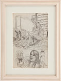 "Original Comic Art:Sketches, Robert Crumb ""Concentration Camp/Mabel"" Double-sided Sketchbook Page Original Art (c. 1961)...."