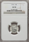 Barber Dimes: , 1914 10C AU58 NGC. NGC Census: (32/634). PCGS Population (41/782).Mintage: 17,360,656. Numismedia Wsl. Price for problem f...