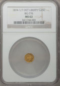 California Fractional Gold, 1874 1/7 25C Liberty Octagonal 25 Cents, BG-776, Low R.5, MS62 NGC.NGC Census: (2/3). PCGS Population (13/20). (#10603)...