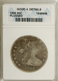 Early Half Dollars: , 1806 50C Pointed 6, No Stem--Plugged--ANACS. Good 4 Details....