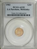 Commemorative Gold: , 1903 G$1 Louisiana Purchase/McKinley AU55 PCGS. PCGS Population(28/2735). NGC Census: (9/1620). Mintage: 17,500. Numismedi...