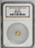California Fractional Gold: , 1854 25C Liberty Octagonal 25 Cents, BG-105, R.3, MS63 NGC. NGCCensus: (6/11). PCGS Population (43/86). (#10374)...