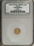 California Fractional Gold: , 1853 50C Liberty Round 50 Cents, BG-430, R.3--Bent--NCS. AUDetails....