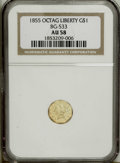 California Fractional Gold: , 1855 $1 Liberty Octagonal 1 Dollar, BG-533, Low R.4, AU58 PCGS.PCGS Population (25/31). (#10510)...
