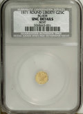 California Fractional Gold: , 1871 25C Liberty Round 25 Cents, BG-838, R.2--Bent--NCS. UncDetails. NGC Census: (0/36). PCGS Population (14/259). (#106...