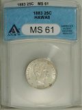 Coins of Hawaii: , 1883 25C Hawaii Quarter MS61 ANACS. NGC Census: (22/491). PCGSPopulation (43/786). Mintage: 500,000. (#10987)...