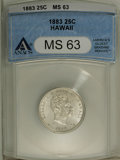 Coins of Hawaii: , 1883 25C Hawaii Quarter MS63 ANACS. NGC Census: (102/311). PCGS Population (225/425). Mintage: 500,000. (#10987)...