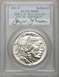 Modern Issues, 2001-D $1 Buffalo Silver Dollar MS69 PCGS. Autographed by 36th U.S.Mint Director, Jay W. Johnson. PCGS Population (9964/44...