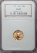 Modern Bullion Coins, 1995 G$5 Tenth-Ounce Gold Eagle MS70 NGC. NGC Census: (144). PCGSPopulation (8). Mintage: 223,025. Numismedia Wsl. Price f...