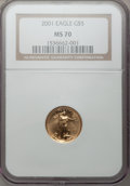 Modern Bullion Coins, 2001 G$5 Tenth-Ounce Gold Eagle MS70 NGC. NGC Census: (3355). PCGSPopulation (33). Numismedia Wsl. Price for problem free...