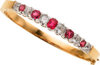 Antique Diamond, Ruby, Platinum, Gold Bracelet, French