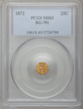 California Fractional Gold: , 1872 25C Indian Octagonal 25 Cents, BG-791, R.3, MS63 PCGS. PCGSPopulation (75/110). NGC Census: (12/19). (#10618)...