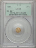 California Fractional Gold: , 1855 25C Liberty Round 25 Cents, BG-227, R.6, MS63 PCGS. PCGSPopulation (20/6). NGC Census: (0/2). (#10412)...