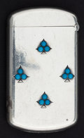 Silver Smalls:Match Safes, A KERR SILVER AND TURQUOISE MATCH SAFE . Wm. B. Kerr & Co.,Newark, New Jersey, circa 1900. Marks: STERLING. 2-1/4inche...