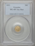 California Fractional Gold, 1852 50C Liberty Round 50 Cents, BG-407, R.4, -- Harshly Cleaned --PCGS Genuine. Bright yellow-gold with distinctive olive...