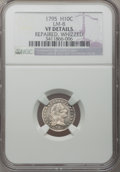 Early Half Dimes: , 1795 H10C --Whizzed, Repaired--NGC Details. VF. LM-8. NGC Census:(4/301). PCGS Population (30/396). Mintage: 78,600. Numis...