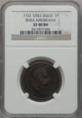 Colonials, 1722 PENNY Rosa Americana Penny, 'UTILE DULCI' XF40 NGC. NGCCensus: (2/11). PCGS Population (3/36). (#113)...