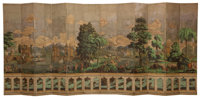 A ZUBER & CIE TWELVE-PANEL SCREEN IN TWO SECTIONS DEPICTING ORIENTAL LANDSCAPE BEYOND BALUSTRADE France, 19th cen